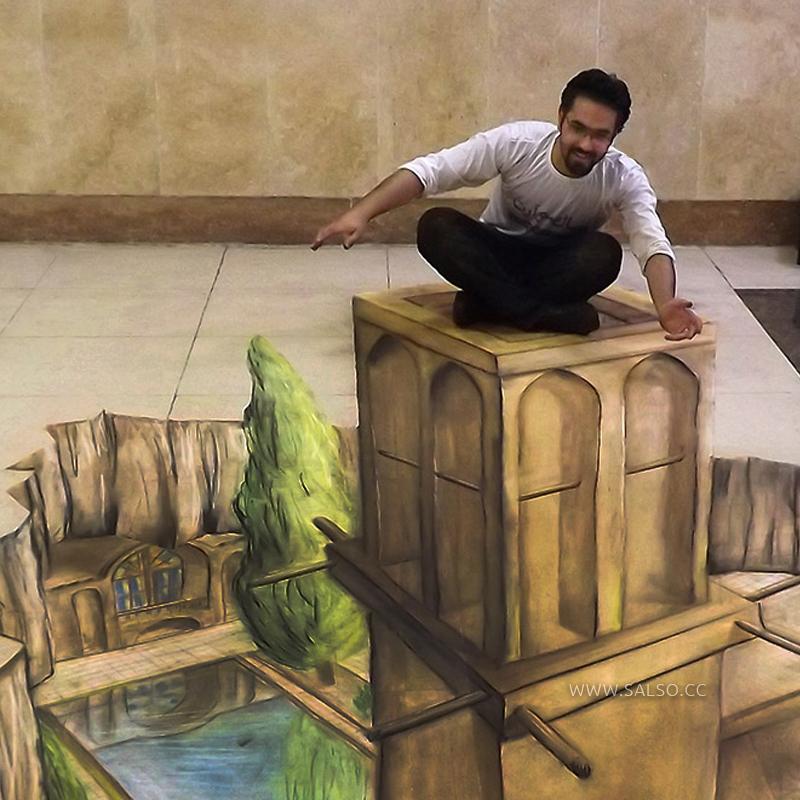 نقاشی سهبعدی بادگیر یزد