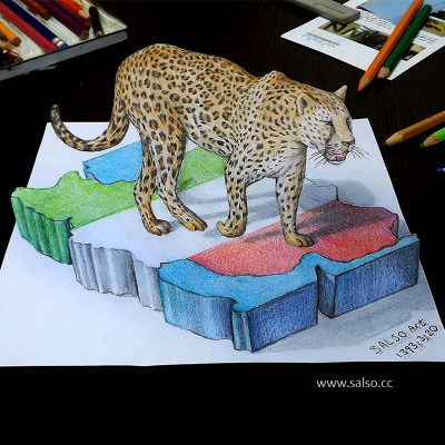 نقاشی سه بعدی یوز ایرانی
