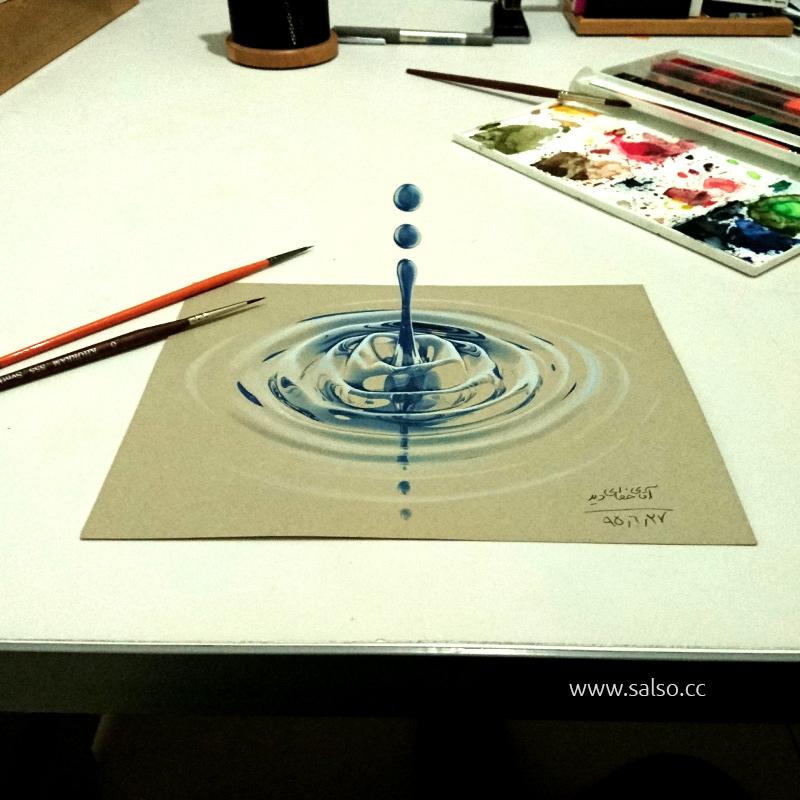 نقاشی سه بعدی آب
