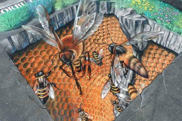 نقاشی سه بعدی تولید عسل