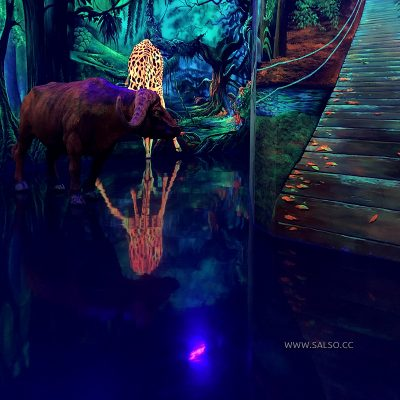 نقاشی سه بعدی بلک لایت جنگل