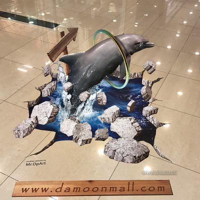 استیکر سهبعدی دلفین در پاساژ دامون کیش