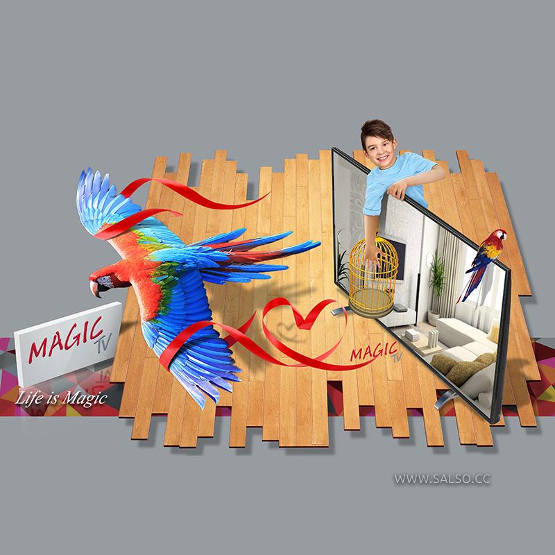 طرح سه بعدی روی جلد تلویزیون