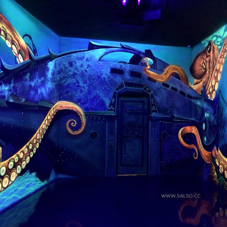 نقاشی سه بعدی بلک لایت زیر دریا