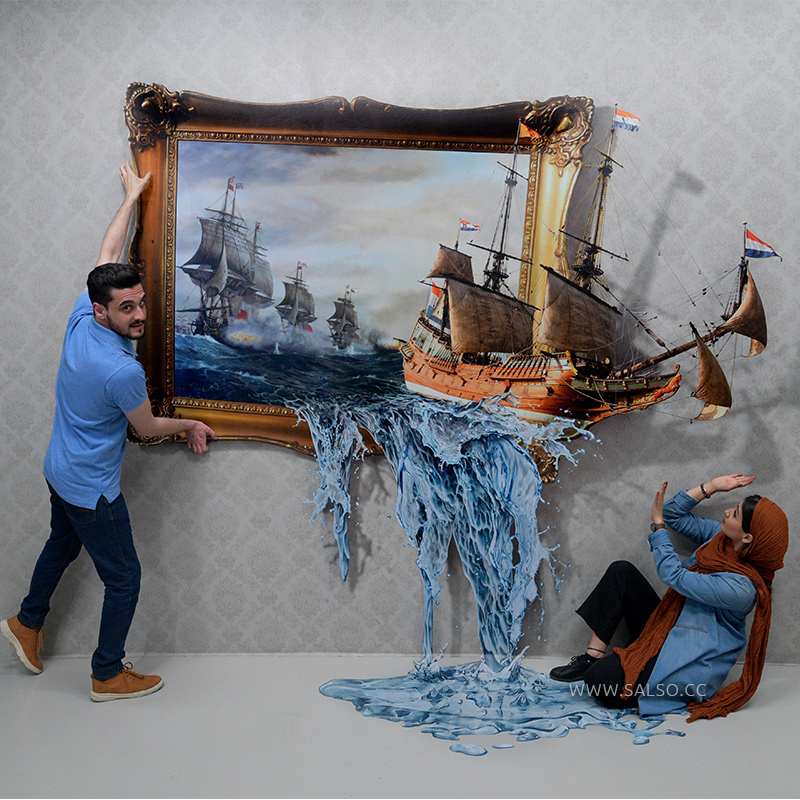 استیکر سهبعدی قاب عکس حمله دزدان دریایی
