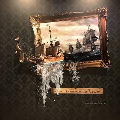 استیکر سهبعدی کشتی در پاساژ دامون کیش