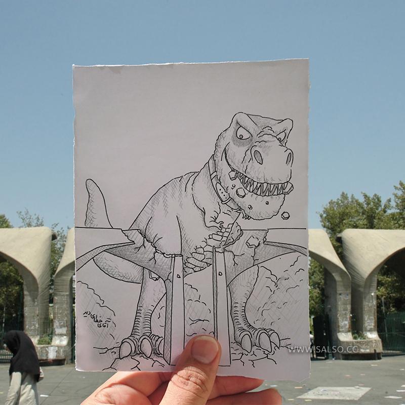 حمله دایناسور به دانشگاه تهران