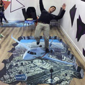 هواپیما در تهران – نقاشی سه بعدی زمینی – (فایل + چاپ) (۶ مترمربع)