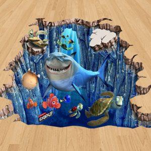 نمو Nemo ماهی کوچولو – نقاشی سه بعدی زمینی – (فایل + چاپ) (۶ مترمربع)