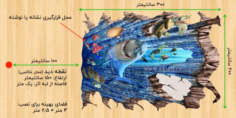 اندازه و محل قرارگیری نقاشی سه بعدی طرح ماهی nemo نسبت به بیننده