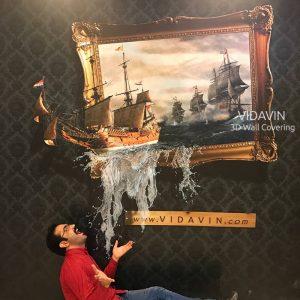 کشتی در قاب – نقاشی سه بعدی دیواری – (فایل + چاپ) (۹ مترمربع)