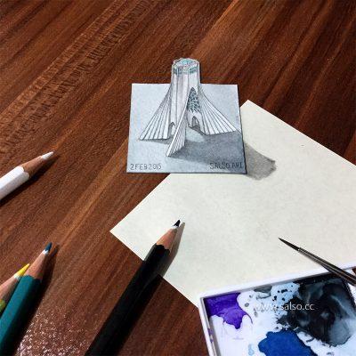 نقاشی سه بعدی برج آزادی خیلی کوچک