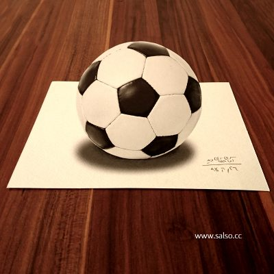 نقاشی سه بعدی توپ فوتبال