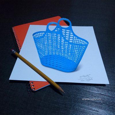 نقاشی سه بعدی زنبیل