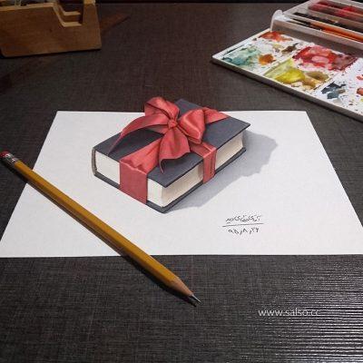 نقاشی سه بعدی کتاب