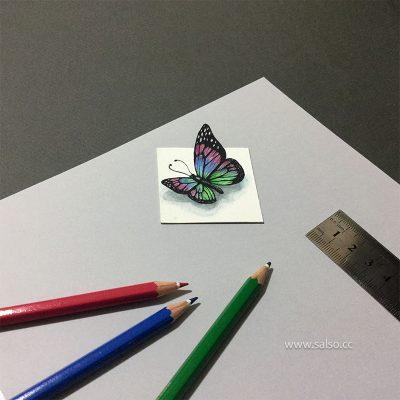 نقاشی سه بعدی پروانه کوچک