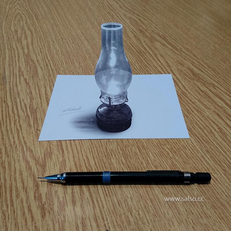 نقاشی سه بعدی چراغ نوستالژی