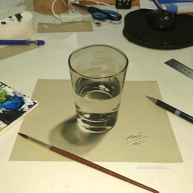نقاشی سه بعدی لیوان
