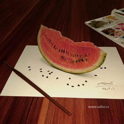نقاشی سه بعدی هندوانه