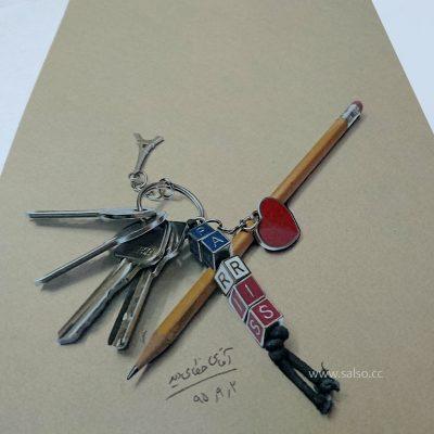 نقاشی سه بعدی دسته کلید
