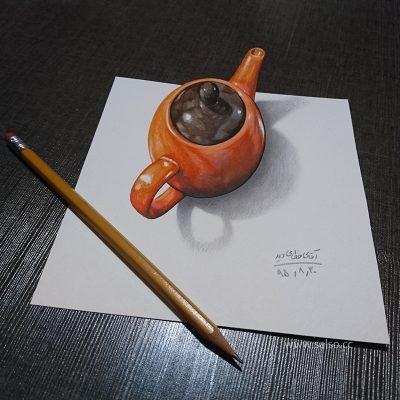 نقاشی سه بعدی قوری