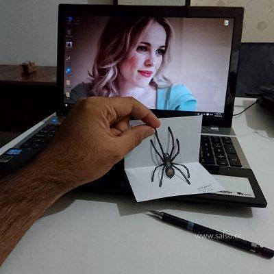 نقاشی سه بعدی عنکبوت