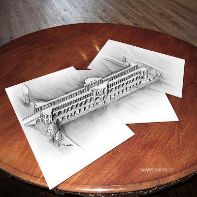 نقاشی سه بعدی پل خواجو
