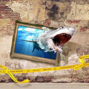 حمله کوسه – نقاشی سه بعدی دیواری – (فایل + چاپ) (۹ مترمربع)