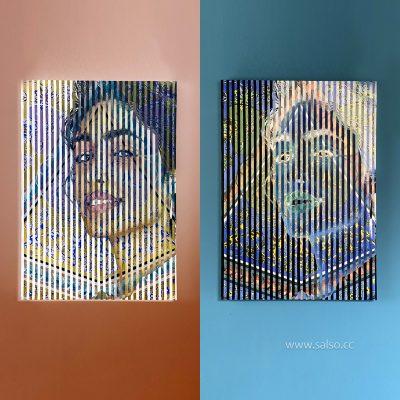 نقاشی ترکیبی خطای دید (رها) از پرتره گلشیفته فراهانی