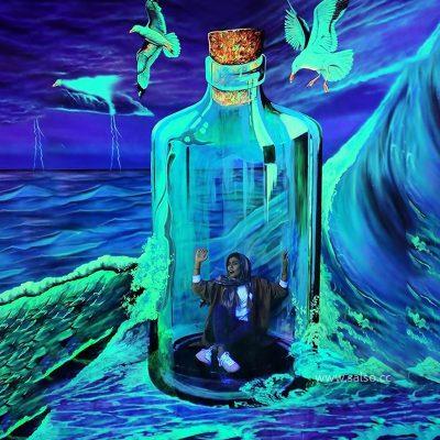 نقاشی سه بعدی بلک لایت بطری شیشهای