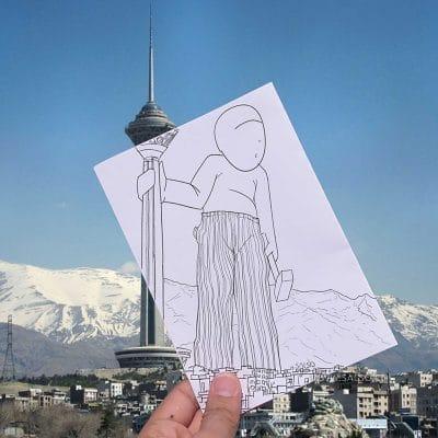 عالیجناب زیرشلواری در کنار برج میلاد