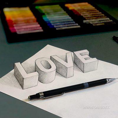 آموزش نقاشی سه بعدی love عشق
