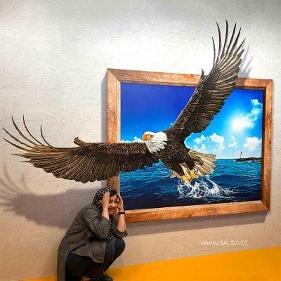 استیکر سه بعدی قاب عکس عقاب